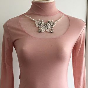 Alannah Hill Top Pink Mesh and Jeweled